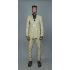 Green Checkered Lapeless Suit With Patch Pockets