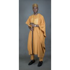 Gold Agbada With Armour Like Embroidery
